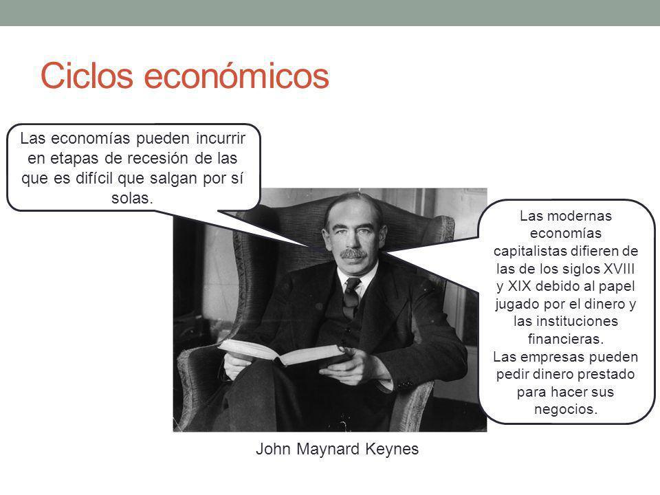 Ciclos económicos John Maynard Keynes Las modernas economías capitalistas difieren de las de los siglos XVIII y XIX debido al papel jugado por el dinero y las instituciones financieras.