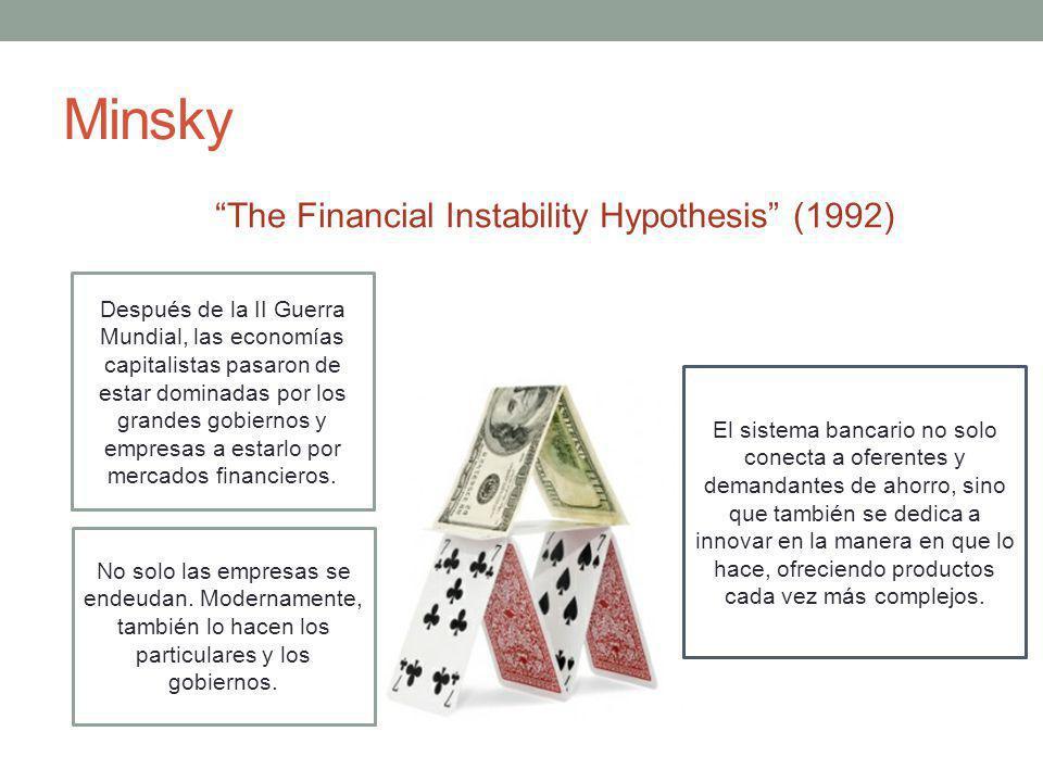 Minsky Después de la II Guerra Mundial, las economías capitalistas pasaron de estar dominadas por los grandes gobiernos y empresas a estarlo por mercados financieros.
