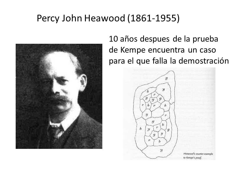 Percy John Heawood (1861-1955) 10 años despues de la prueba de Kempe encuentra un caso para el que falla la demostración