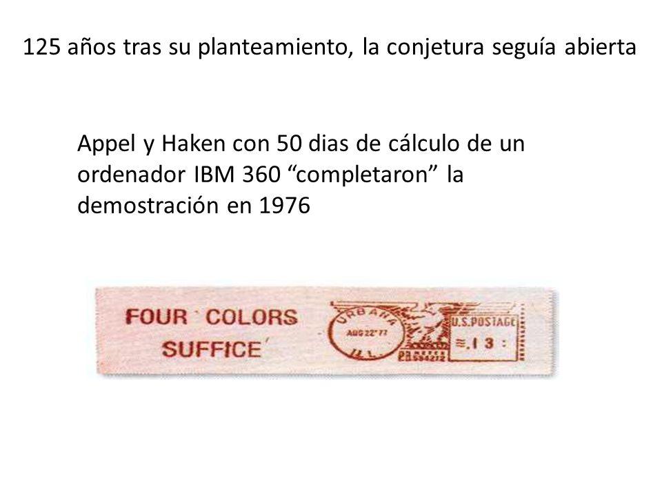 125 años tras su planteamiento, la conjetura seguía abierta Appel y Haken con 50 dias de cálculo de un ordenador IBM 360 completaron la demostración en 1976