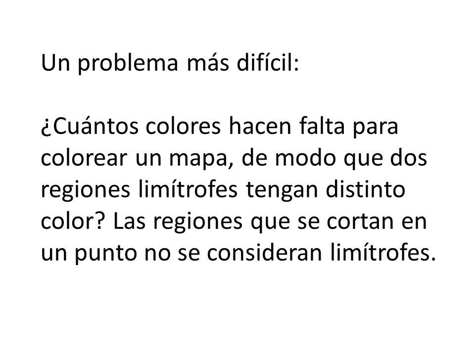 Un problema más difícil: ¿Cuántos colores hacen falta para colorear un mapa, de modo que dos regiones limítrofes tengan distinto color.