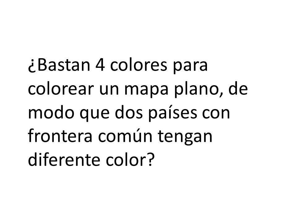 ¿Bastan 4 colores para colorear un mapa plano, de modo que dos países con frontera común tengan diferente color?
