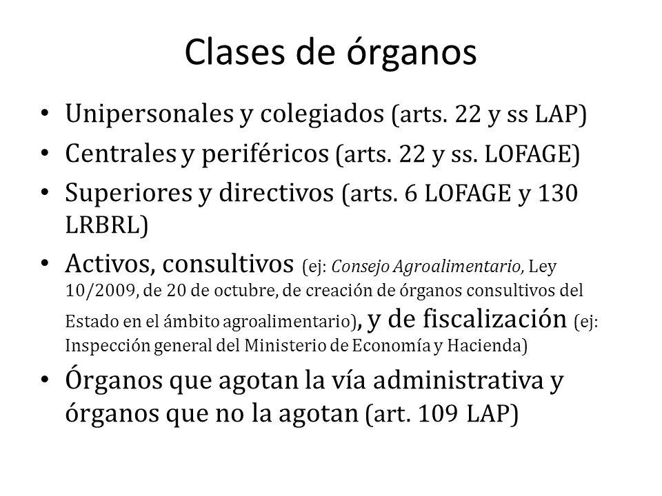 Clases de órganos Unipersonales y colegiados (arts. 22 y ss LAP) Centrales y periféricos (arts. 22 y ss. LOFAGE) Superiores y directivos (arts. 6 LOFA