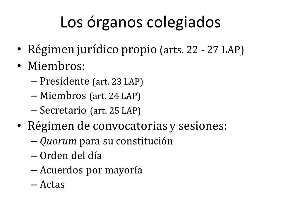 Los órganos colegiados Régimen jurídico propio (arts. 22 - 27 LAP) Miembros: – Presidente (art. 23 LAP) – Miembros (art. 24 LAP) – Secretario (art. 25