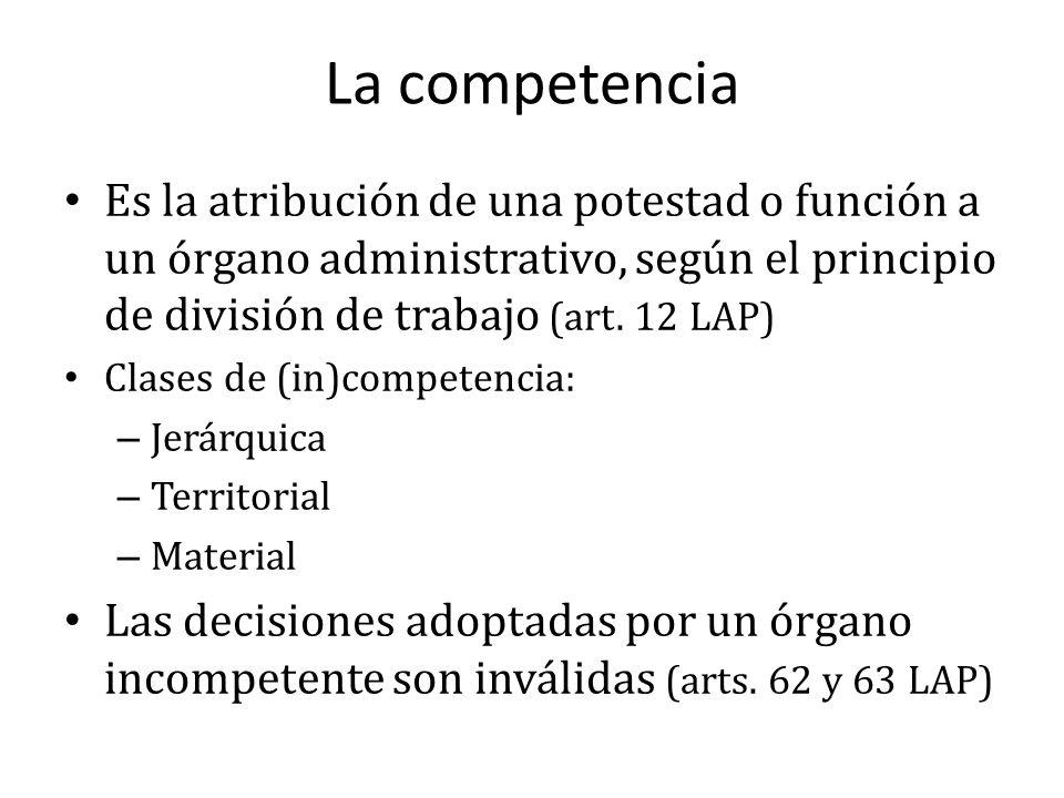 Es la atribución de una potestad o función a un órgano administrativo, según el principio de división de trabajo (art. 12 LAP) Clases de (in)competenc