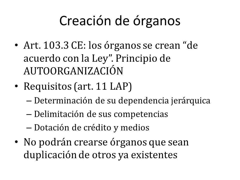 Creación de órganos Art. 103.3 CE: los órganos se crean de acuerdo con la Ley. Principio de AUTOORGANIZACIÓN Requisitos (art. 11 LAP) – Determinación