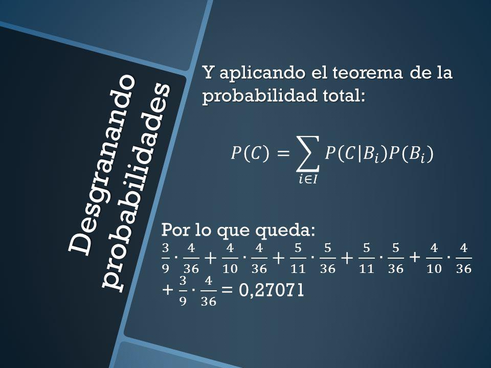 Desgranando probabilidades Y aplicando el teorema de la probabilidad total:
