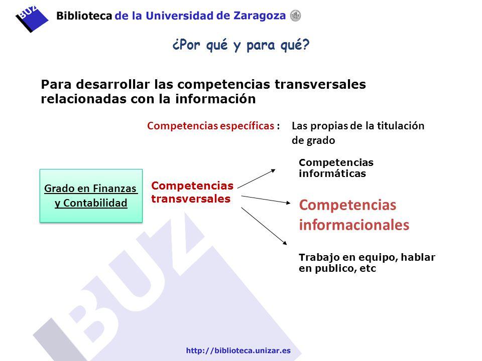 ¿Por qué y para qué? Para desarrollar las competencias transversales relacionadas con la información Competencias específicas : Las propias de la titu