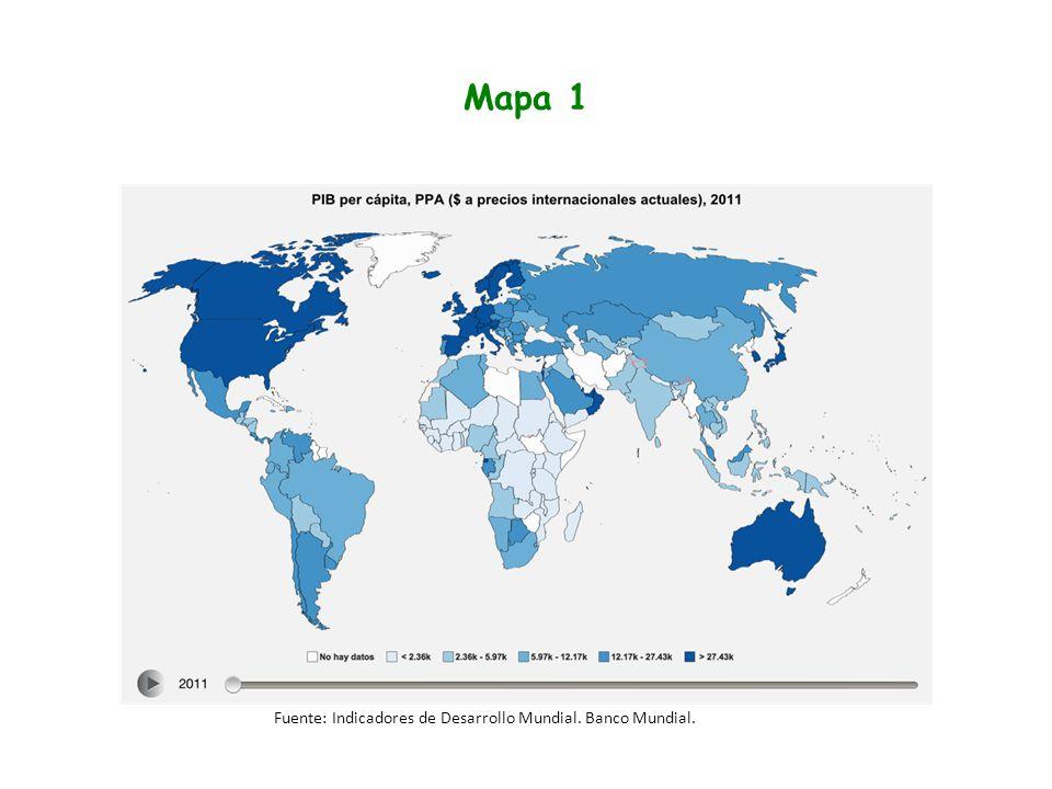 Mapa 1 Fuente: Indicadores de Desarrollo Mundial. Banco Mundial.