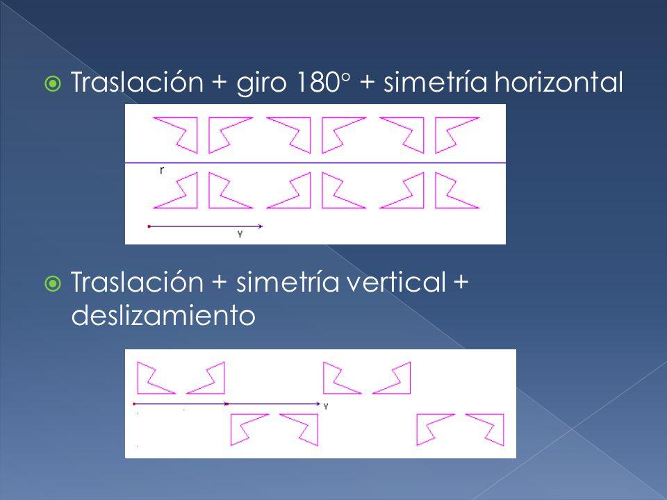 Traslación + giro 180 + simetría horizontal Traslación + simetría vertical + deslizamiento