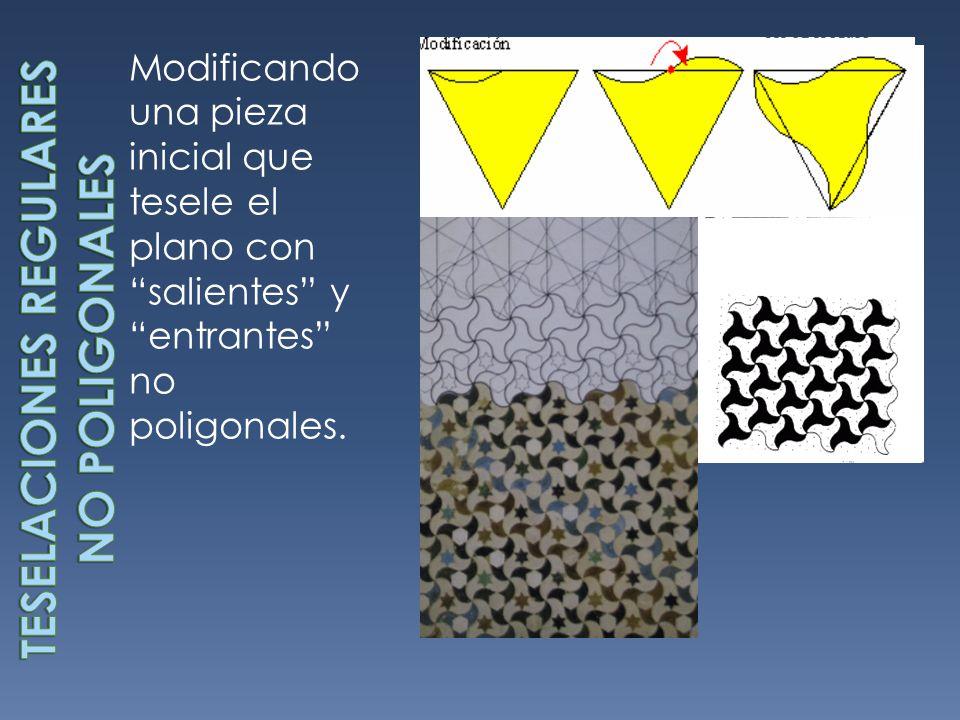 Modificando una pieza inicial que tesele el plano con salientes y entrantes no poligonales.