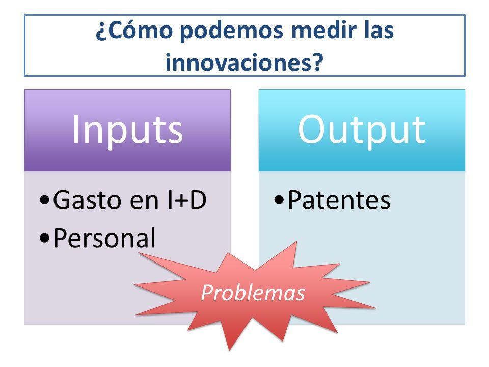 ¿Cómo podemos medir las innovaciones? Inputs Gasto en I+D Personal Output Patentes Problemas