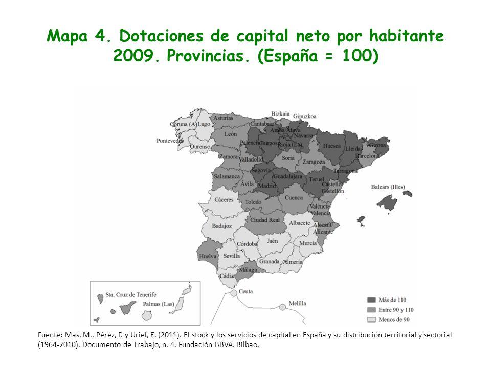 Mapa 4. Dotaciones de capital neto por habitante 2009. Provincias. (España = 100) Fuente: Mas, M., Pérez, F. y Uriel, E. (2011). El stock y los servic