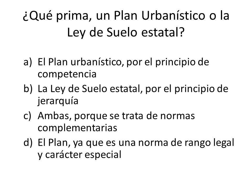 ¿Qué prima, un Plan Urbanístico o la Ley de Suelo estatal.