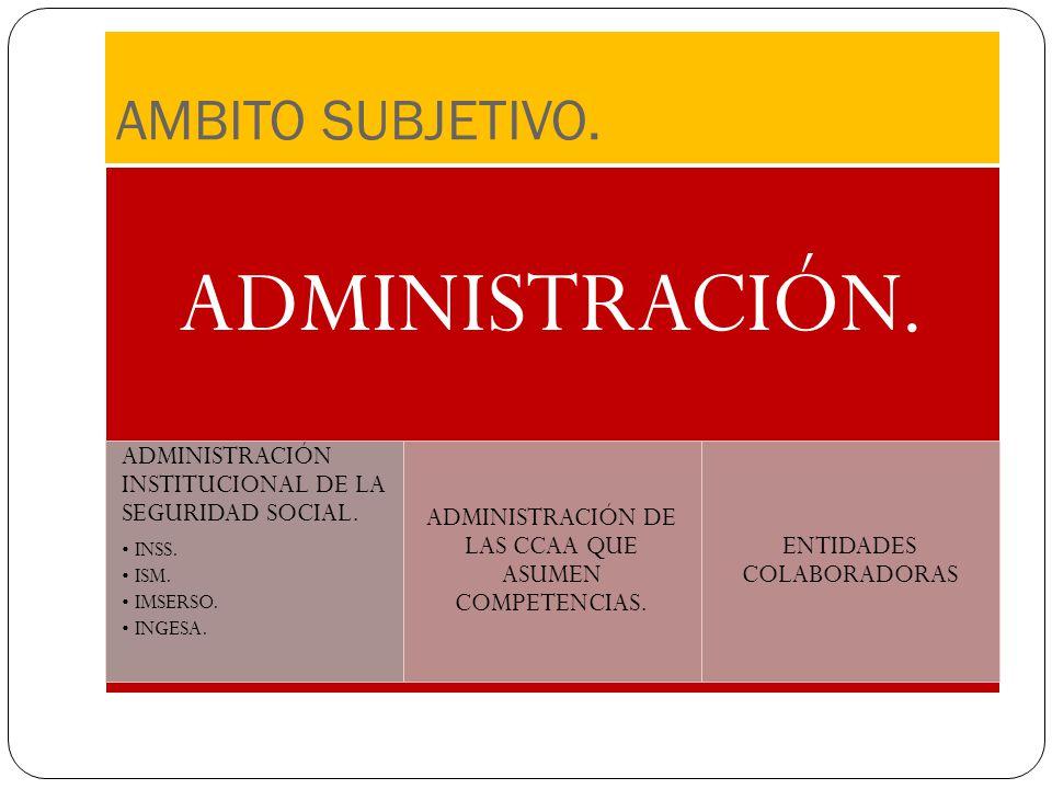 AMBITO SUBJETIVO. ADMINISTRACIÓN. ADMINISTRACIÓN INSTITUCIONAL DE LA SEGURIDAD SOCIAL. INSS. ISM. IMSERSO. INGESA. ADMINISTRACIÓN DE LAS CCAA QUE ASUM