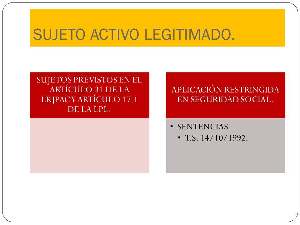 SUJETO ACTIVO LEGITIMADO. SUJETOS PREVISTOS EN EL ARTÍCULO 31 DE LA LRJPAC Y ARTÍCULO 17.1 DE LA LPL. APLICACIÓN RESTRINGIDA EN SEGURIDAD SOCIAL. SENT