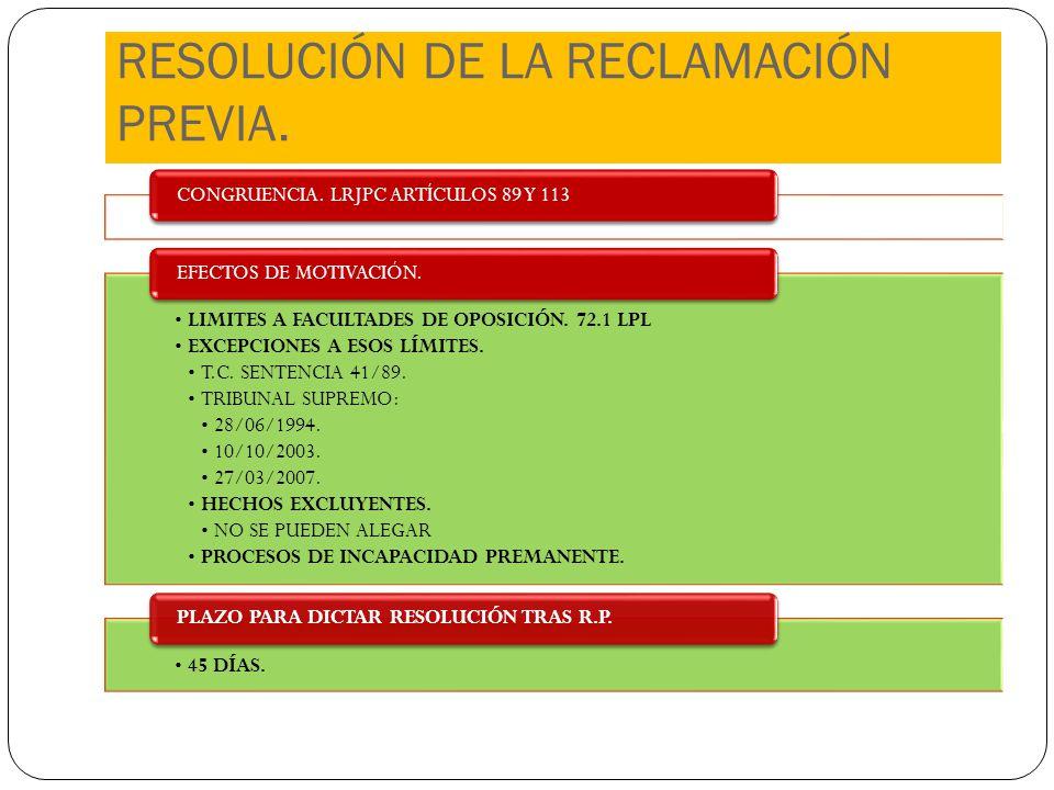 RESOLUCIÓN DE LA RECLAMACIÓN PREVIA. CONGRUENCIA. LRJPC ARTÍCULOS 89 Y 113 LIMITES A FACULTADES DE OPOSICIÓN. 72.1 LPL EXCEPCIONES A ESOS LÍMITES. T.C