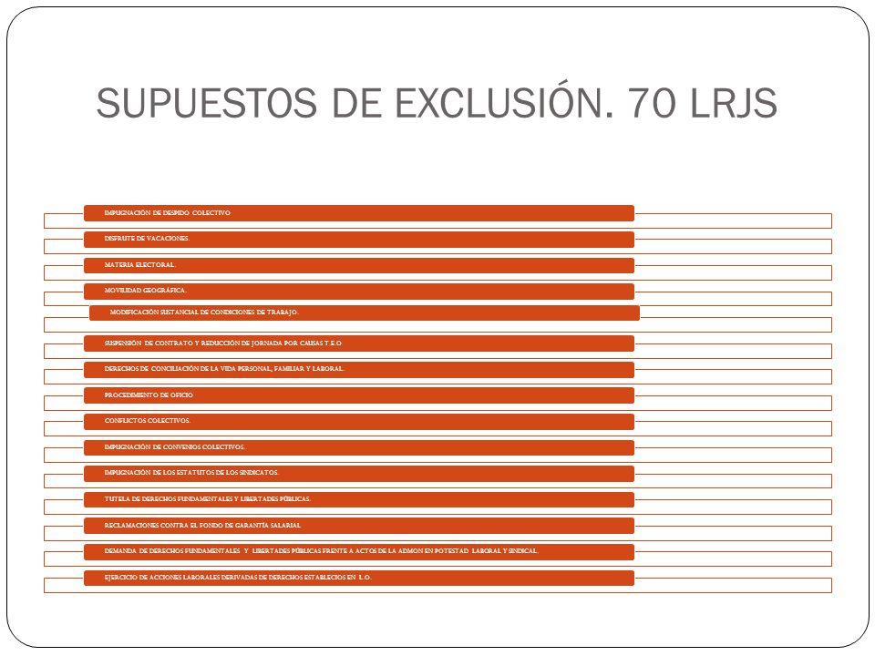 SUPUESTOS DE EXCLUSIÓN. 70 LRJS IMPUGNACIÓN DE DESPIDO COLECTIVODISFRUTE DE VACACIONES.MATERIA ELECTORAL.MOVILIDAD GEOGRÁFICA.MODIFICACIÓN SUSTANCIAL