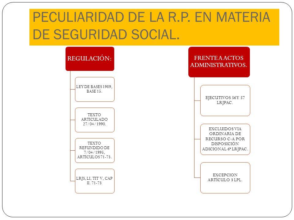 PECULIARIDAD DE LA R.P. EN MATERIA DE SEGURIDAD SOCIAL. REGULACIÓN: LEY DE BASES 1989, BASE 15. TEXTO ARTICULADO 27/04/1990. TEXTO REFUNDIDO DE 7/04/1