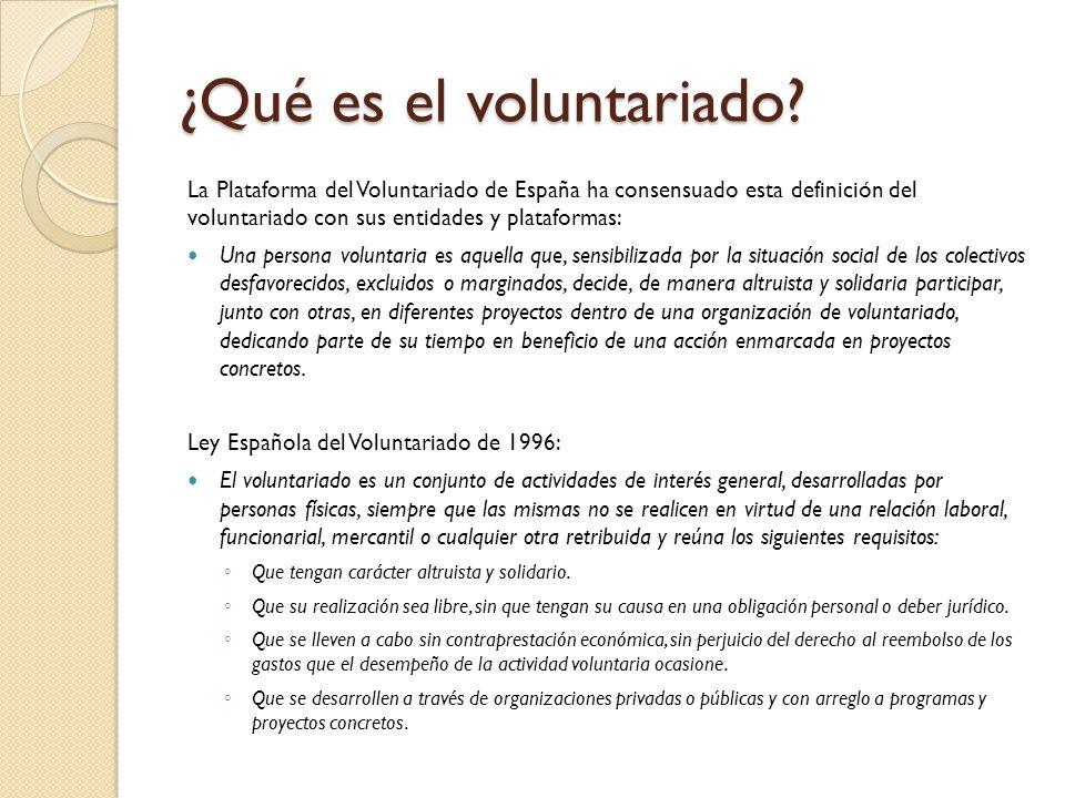 ¿Qué es el voluntariado? La Plataforma del Voluntariado de España ha consensuado esta definición del voluntariado con sus entidades y plataformas: Una