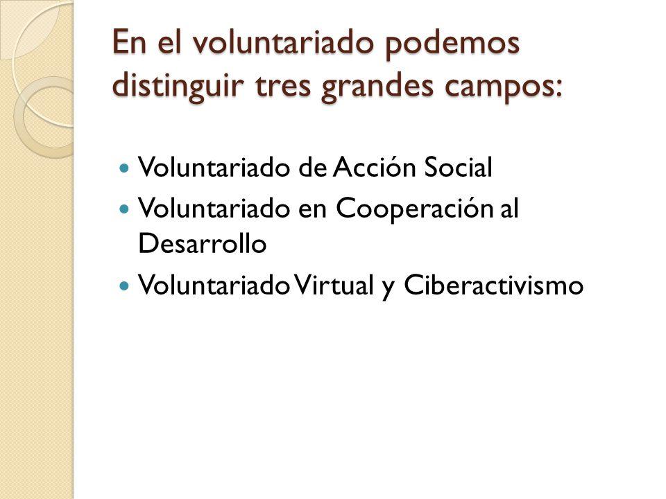 En el voluntariado podemos distinguir tres grandes campos: Voluntariado de Acción Social Voluntariado en Cooperación al Desarrollo Voluntariado Virtua