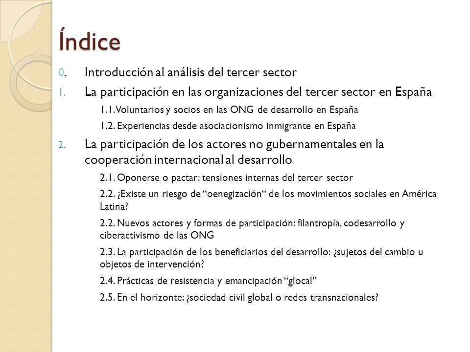 Índice 0. Introducción al análisis del tercer sector 1. La participación en las organizaciones del tercer sector en España 1.1. Voluntarios y socios e