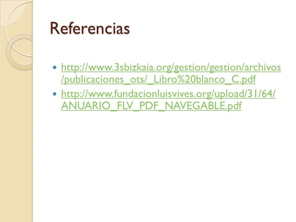 Referencias http://www.3sbizkaia.org/gestion/gestion/archivos /publicaciones_ots/_Libro%20blanco_C.pdf http://www.3sbizkaia.org/gestion/gestion/archiv