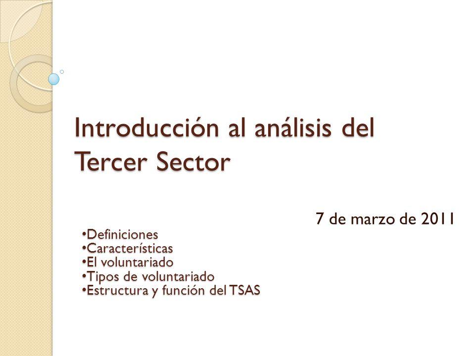 Introducción al análisis del Tercer Sector 7 de marzo de 2011 Definiciones Definiciones Características Características El voluntariado El voluntariad