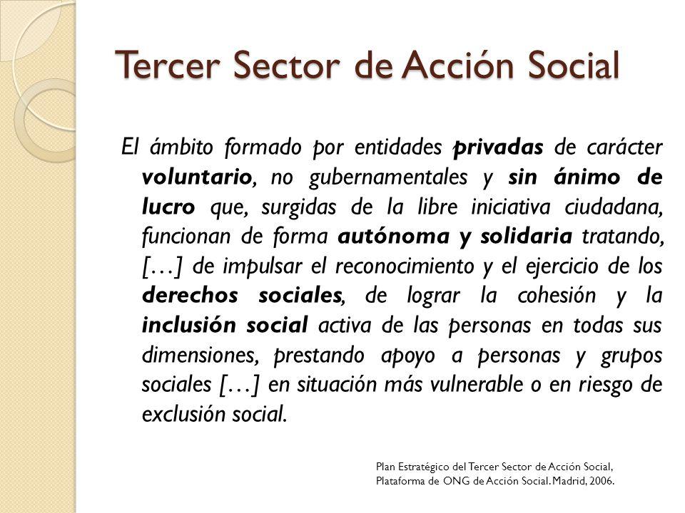 Tercer Sector de Acción Social El ámbito formado por entidades privadas de carácter voluntario, no gubernamentales y sin ánimo de lucro que, surgidas