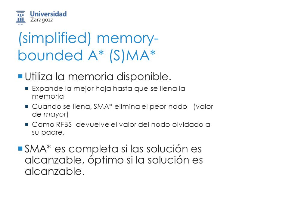 (simplified) memory- bounded A* (S)MA* Utiliza la memoria disponible. Expande la mejor hoja hasta que se llena la memoria Cuando se llena, SMA* elimin