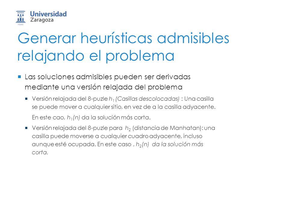 Generar heurísticas admisibles relajando el problema Las soluciones admisibles pueden ser derivadas mediante una versión relajada del problema Versión