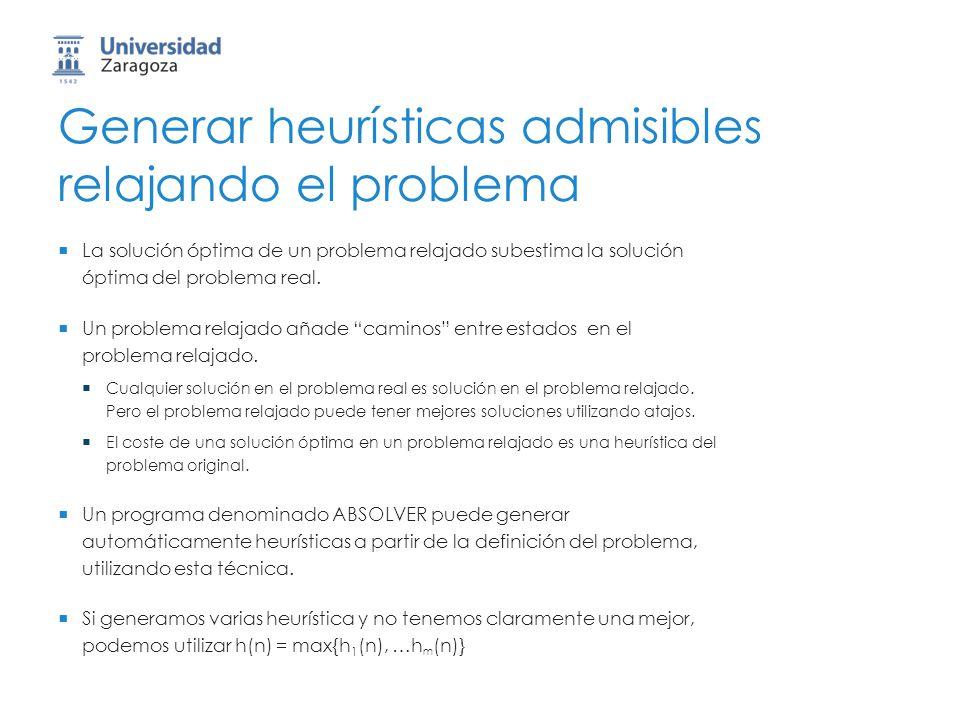 Generar heurísticas admisibles relajando el problema La solución óptima de un problema relajado subestima la solución óptima del problema real. Un pro