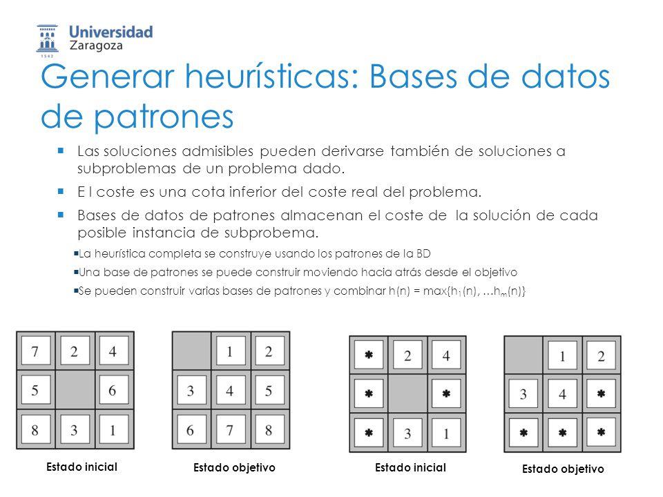 71 Generar heurísticas: Bases de datos de patrones Las soluciones admisibles pueden derivarse también de soluciones a subproblemas de un problema dado