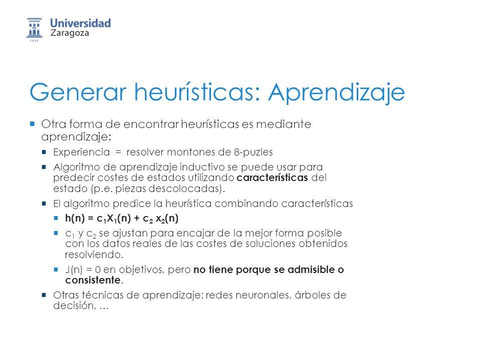 Generar heurísticas: Aprendizaje Otra forma de encontrar heurísticas es mediante aprendizaje: Experiencia = resolver montones de 8-puzles Algoritmo de