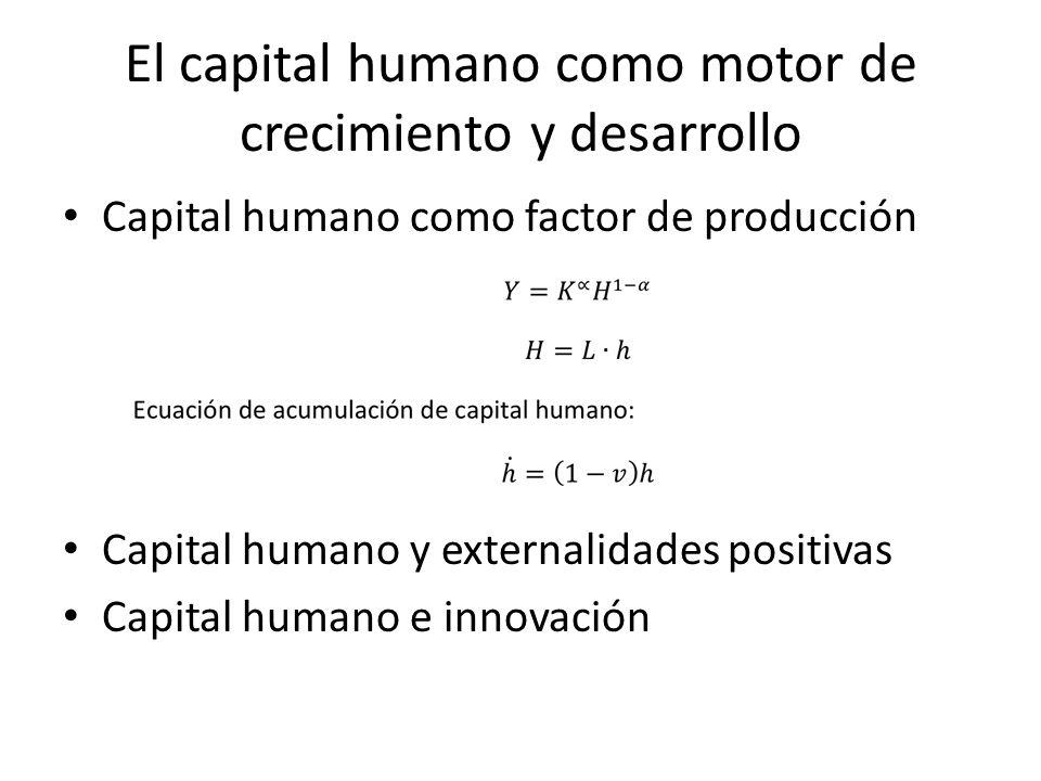 El capital humano como motor de crecimiento y desarrollo Capital humano como factor de producción Capital humano y externalidades positivas Capital hu