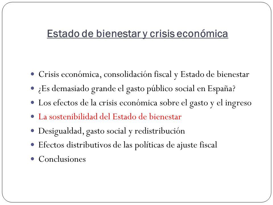 Estado de bienestar y crisis económica Crisis económica, consolidación fiscal y Estado de bienestar ¿Es demasiado grande el gasto público social en España.
