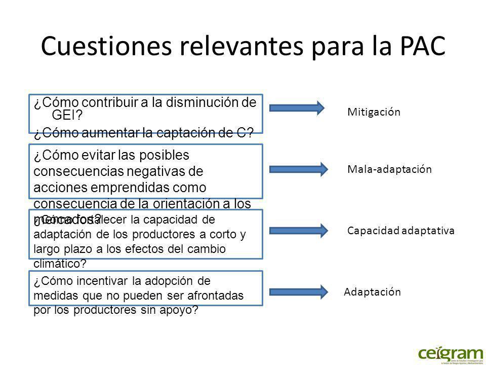 Cuestiones relevantes para la PAC ¿Cómo contribuir a la disminución de GEI.