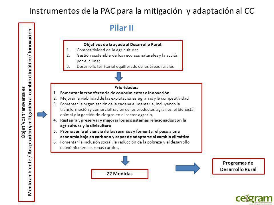 Instrumentos de la PAC para la mitigación y adaptación al CC Pilar II Objetivos de la ayuda al Desarrollo Rural: 1.Competitividad de la agricultura; 2.Gestión sostenible de los recursos naturales y la acción por el clima; 3.Desarrollo territorial equilibrado de las áreas rurales Prioridades: 1.Fomentar la transferencia de conocimientos e innovación 2.Mejorar la viabilidad de las explotaciones agrarias y la competitividad 3.Fomentar la organización de la cadena alimentaria, incluyendo la transformación y comercialización de los productos agrarios, el bienestar animal y la gestión de riesgos en el sector agrario, 4.Restaurar, preservar y mejorar los ecosistemas relacionados con la agricultura y la silvicultura 5.Promover la eficiencia de los recursos y fomentar el paso a una economía baja en carbono y capaz de adaptarse al cambio climático 6.Fomentar la inclusión social, la reducción de la pobreza y el desarrollo económico en las zonas rurales, 22 Medidas Objetivos transversales Medio ambiente / Adaptación y mitigación al cambio climático / Innovación Programas de Desarrollo Rural
