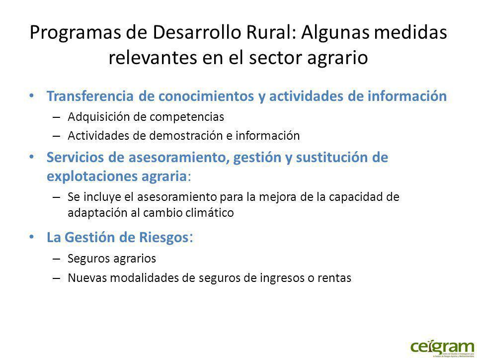 Programas de Desarrollo Rural: Algunas medidas relevantes en el sector agrario Transferencia de conocimientos y actividades de información – Adquisici