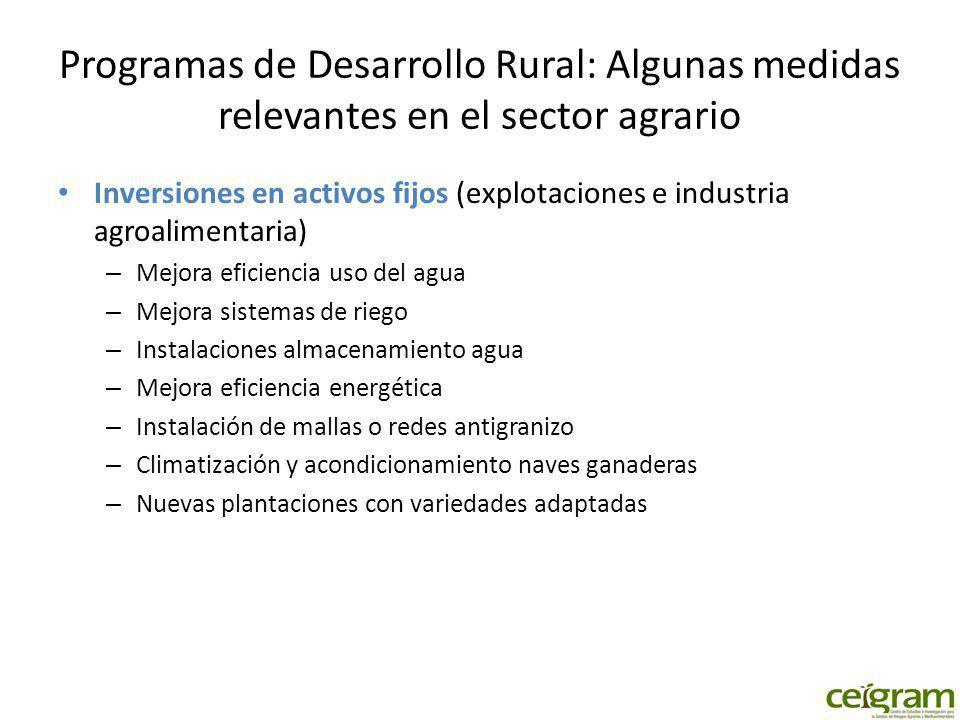 Programas de Desarrollo Rural: Algunas medidas relevantes en el sector agrario Inversiones en activos fijos (explotaciones e industria agroalimentaria