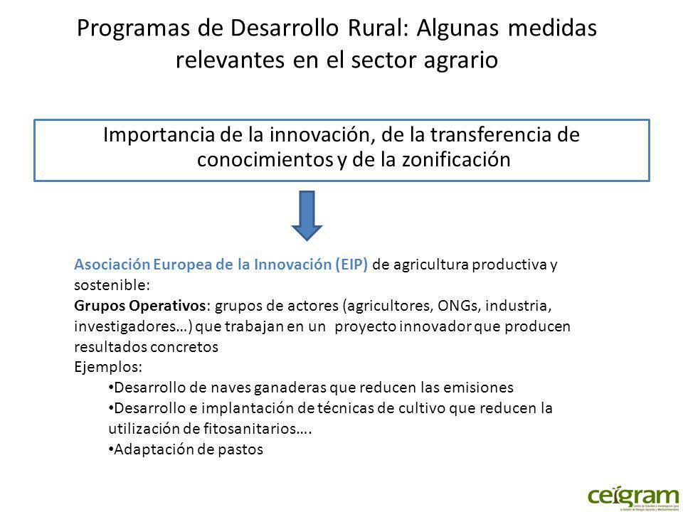 Programas de Desarrollo Rural: Algunas medidas relevantes en el sector agrario Importancia de la innovación, de la transferencia de conocimientos y de