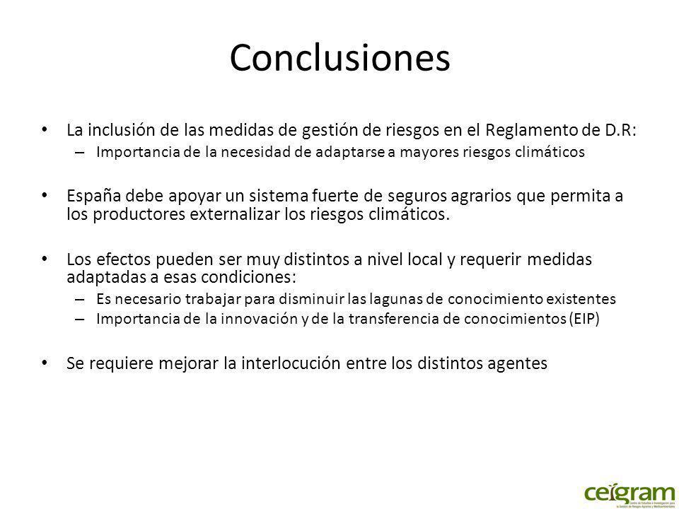Conclusiones La inclusión de las medidas de gestión de riesgos en el Reglamento de D.R: – Importancia de la necesidad de adaptarse a mayores riesgos c