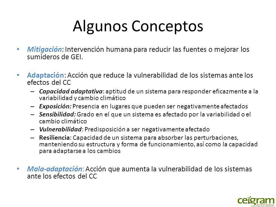 Algunos Conceptos Mitigación: Intervención humana para reducir las fuentes o mejorar los sumideros de GEI. Adaptación: Acción que reduce la vulnerabil