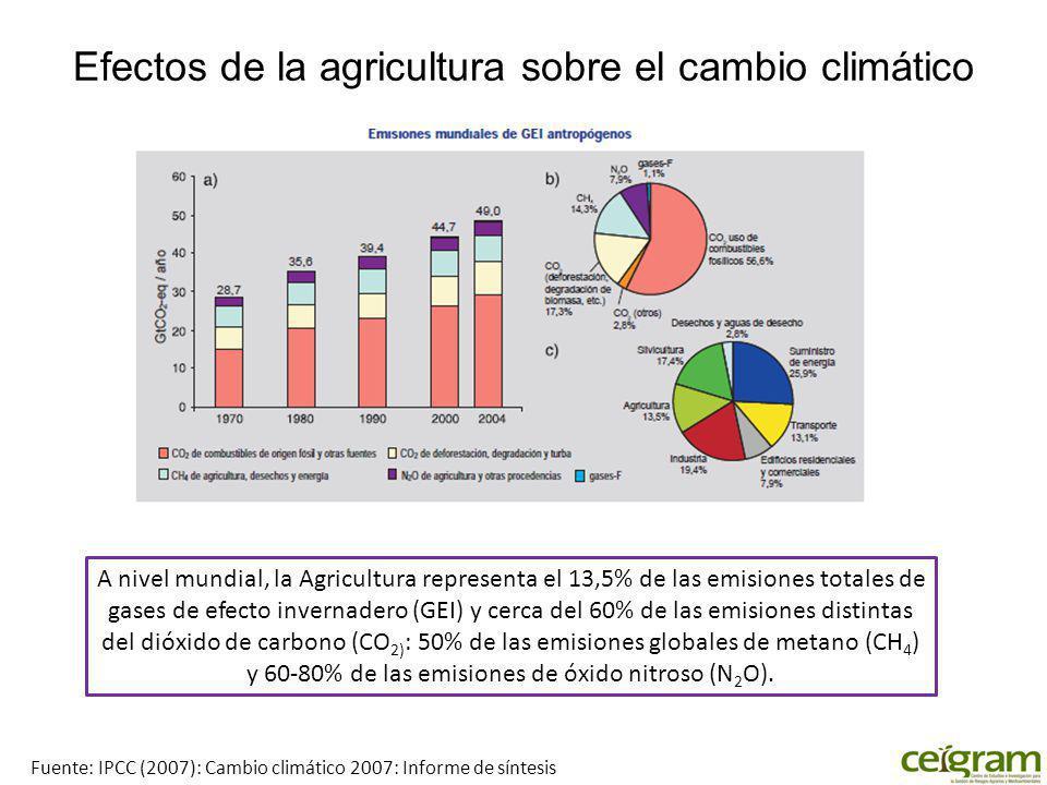 Efectos de la agricultura sobre el cambio climático A nivel mundial, la Agricultura representa el 13,5% de las emisiones totales de gases de efecto invernadero (GEI) y cerca del 60% de las emisiones distintas del dióxido de carbono (CO 2) : 50% de las emisiones globales de metano (CH 4 ) y 60-80% de las emisiones de óxido nitroso (N 2 O).