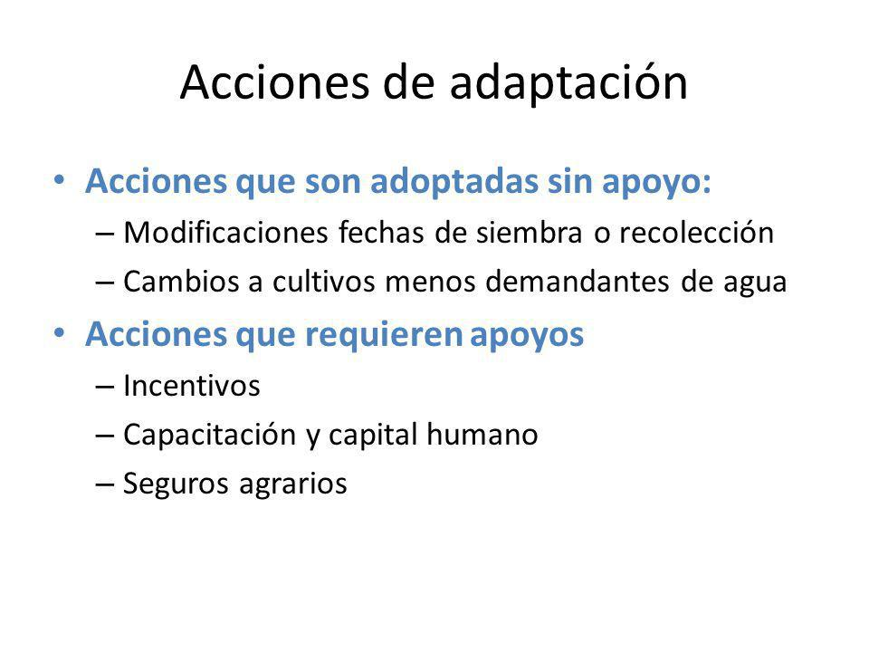 Acciones de adaptación Tipos de acciones: – Adaptación o ajuste – Reducir la exposición – Aumentar la capacidad de adaptación – Reducir la vulnerabilidad – Evitar la mala-adaptación Enfoques: – Escala: Explotación agraria, local, región… – Tiempo: corto /medio /largo plazo – Coste: reducido / medio / elevado – Basadas en la tecnología (inversiones) – Basadas en infraestructuras – Basadas en la gestión y/o el comportamiento (capital humano)