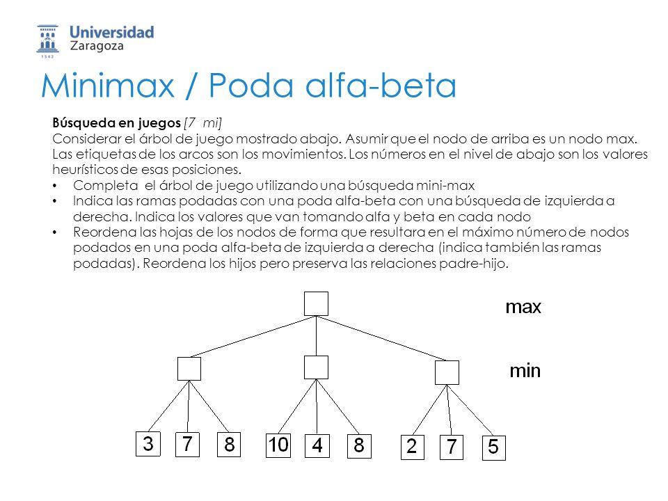 Minimax / Poda alfa-beta Búsqueda en juegos [7 mi] Considerar el árbol de juego mostrado abajo. Asumir que el nodo de arriba es un nodo max. Las etiqu