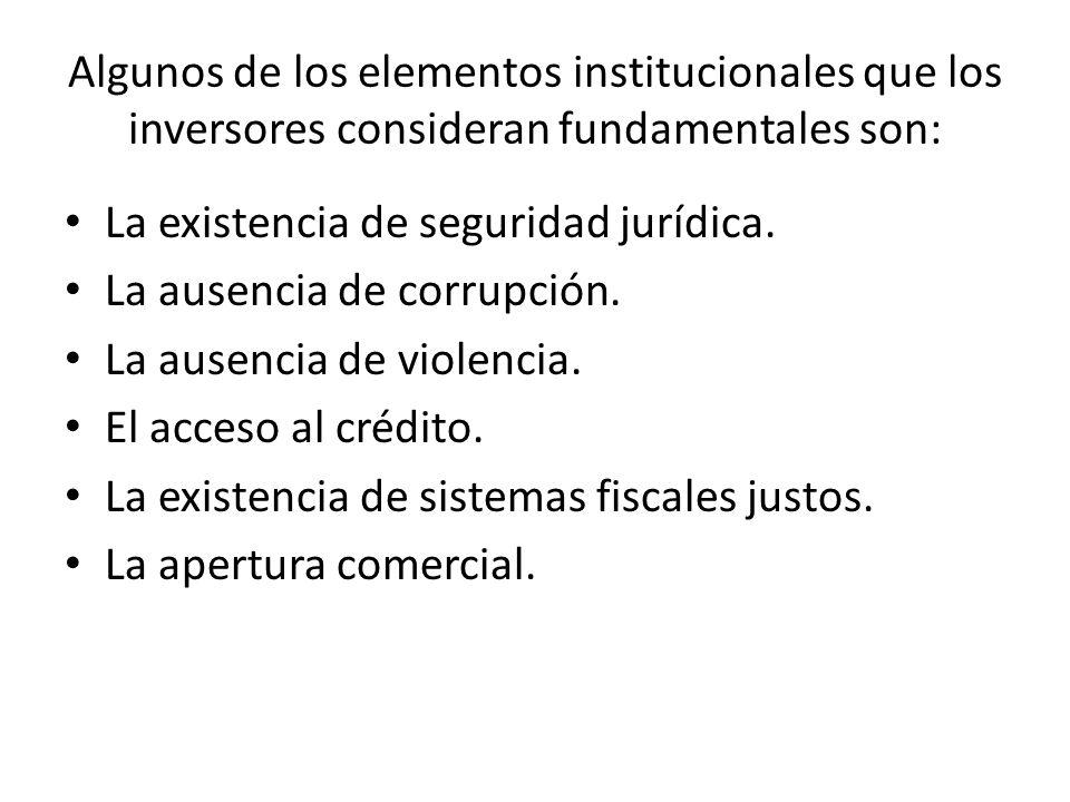 Algunos de los elementos institucionales que los inversores consideran fundamentales son: La existencia de seguridad jurídica.