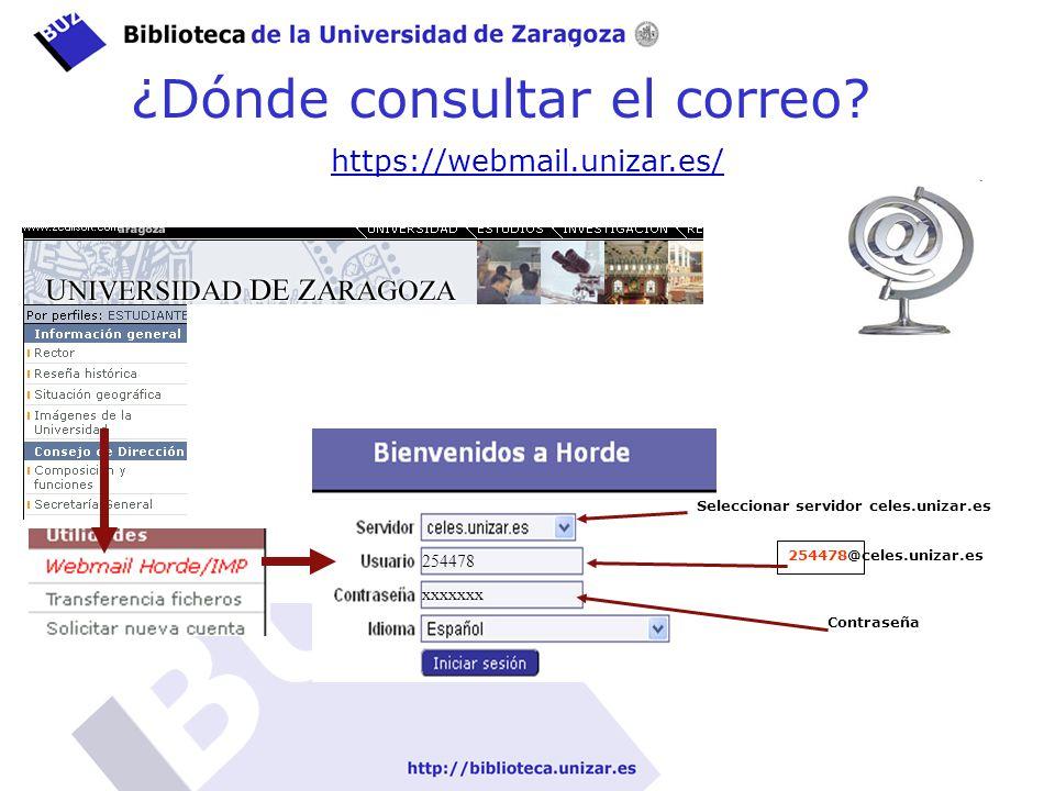 Gestión de la información en el Grado de Ingeniería al ¿Dónde consultar el correo? https://webmail.unizar.es/horde/imp/login.php Busca horde unizar en