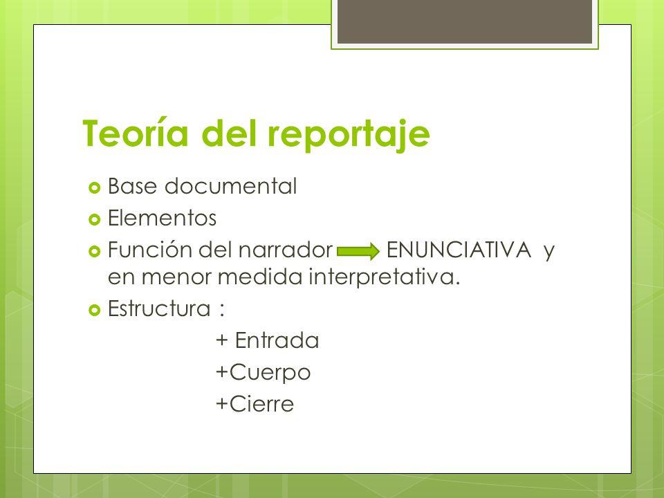 Teoría del reportaje Base documental Elementos Función del narrador ENUNCIATIVA y en menor medida interpretativa. Estructura : + Entrada +Cuerpo +Cier