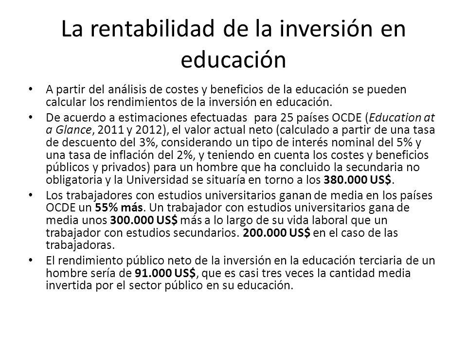 La rentabilidad de la inversión en educación A partir del análisis de costes y beneficios de la educación se pueden calcular los rendimientos de la in